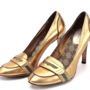 ✨GUCCI metallic gold leather loafer heels RARE